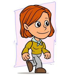 Cartoon smiling and walking redhead girl character vector