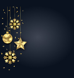 Christmas dark background with golden baubles vector
