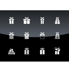 Christmas gift box icons on black background vector image