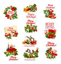 Christmas holiday icon of santa snowman and gift vector