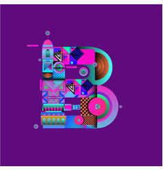 Colorful alphabet font letter b for logo vector