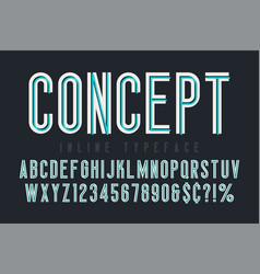 condensed inline font typeface alphabet original vector image