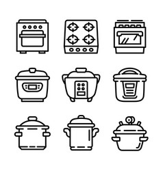 cooker icon set outline style vector image