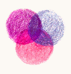 Crayon scribble texture stain round shape isolated vector