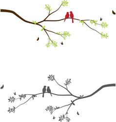 Cute birds with tree branch on winter scene vector