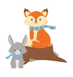 cute fox and rabbit with scarf autumn on white vector image