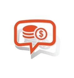 Dollar rouleau message sticker orange vector