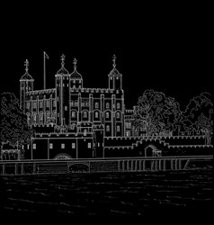Drawing tower of london vector