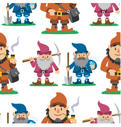 fairy tale fantastic gnome seamless pattern vector image