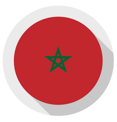 Flag morocco round shape icon on white vector