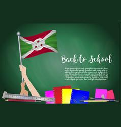 flag of burundi on black chalkboard background vector image