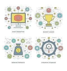 Flat line Video Marketing Financial Planning vector image