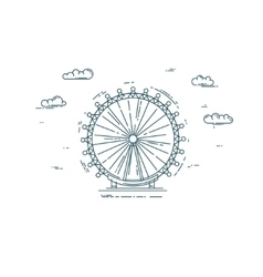 Flat line with big wheel and clouds vector image