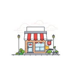 flat store building with scooter vector image