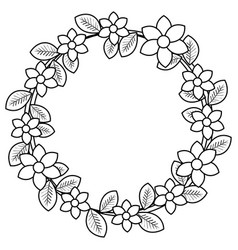 Floral wreath decorative icon vector