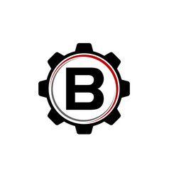 gear solution logo letter b vector image