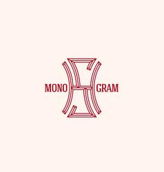 geometric monogram sh vector image