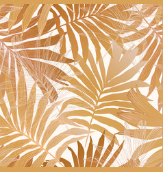 gold colored fan palm leaves seamless pattern vector image