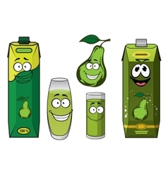 Green pear fruit and juice drink characters vector image