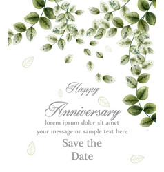 happy anniversary card with watercolor green vector image