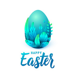 happy easter card big 3d egg with spring leaves vector image