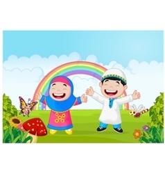 Happy muslim kid waving hand with rainbow vector