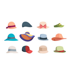 hats fashioned head clothes summer caps and hats vector image