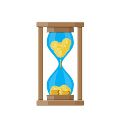 hourglass clocks with dollar coins inside vector image