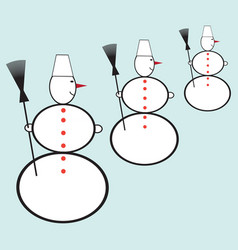 icon with snowmen vector image