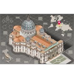 Isometric Infographic of Saint Peter of Vatican vector