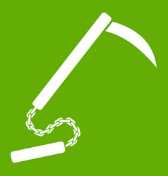 Kusarigama icon green vector
