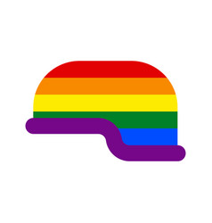 lgbt helmet soldier gay military cap hat defense vector image