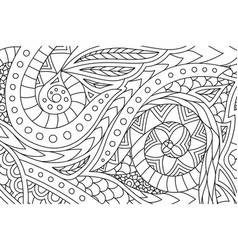 Line art for coloring book with hand drawn pattern vector