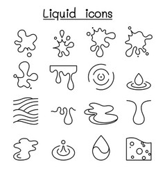 liquid icon set in thin line style vector image