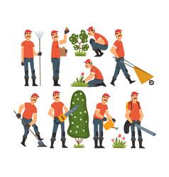 Man gardener working in garden or farm vector