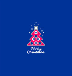 merry christmas tree icon vector image