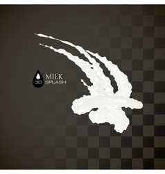 Milk 3D splash isolated on black background vector