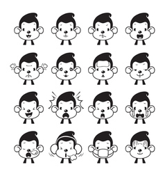 Monkey Emoticons set Monochrome vector image