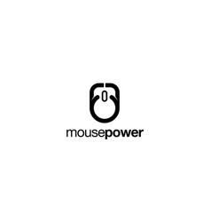 mouse power logo design concept vector image