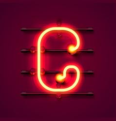 neon font letter g art design signboard vector image