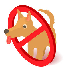 no dog icon isometric 3d style vector image