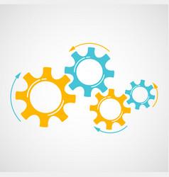 orange and blue gear teamwork concept element vector image