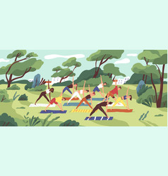 outdoor yoga class flat young vector image
