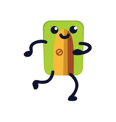 pencil sharpener flat icon funny green school vector image