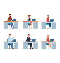 People in offices design vector