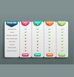 pricing table for four products or services with vector image