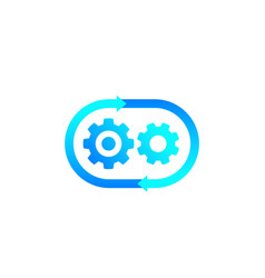 Production cycle process icon with cogwheels vector