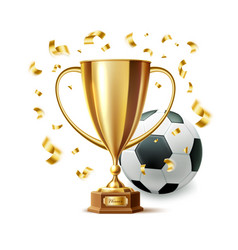 Realistic golden trophy cup soccer ball vector