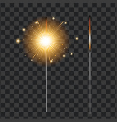 realistic sparkler transparent background vector image