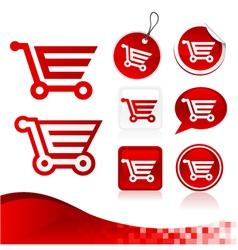 Red shopping cart design kit vector